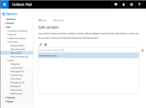 Screenshot of adding safe list to email account